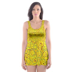 Yellow abstract art Skater Dress Swimsuit
