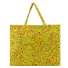 Yellow abstract art Zipper Large Tote Bag