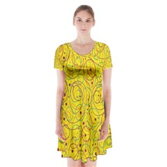 Yellow abstract art Short Sleeve V-neck Flare Dress