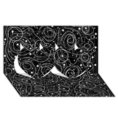 Black and white magic Twin Hearts 3D Greeting Card (8x4)