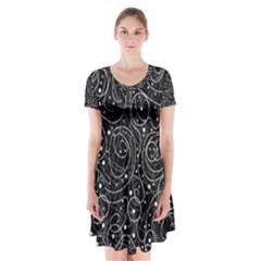 Black and white magic Short Sleeve V-neck Flare Dress