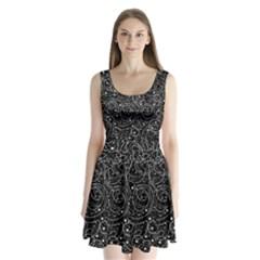 Black and white magic Split Back Mini Dress