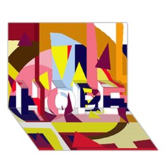Colorful abstraction HOPE 3D Greeting Card (7x5)