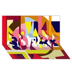 Colorful abstraction SORRY 3D Greeting Card (8x4)
