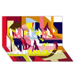 Colorful abstraction Merry Xmas 3D Greeting Card (8x4)