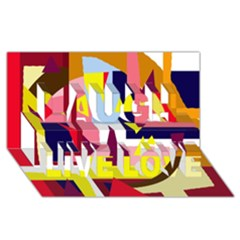 Colorful abstraction Laugh Live Love 3D Greeting Card (8x4)