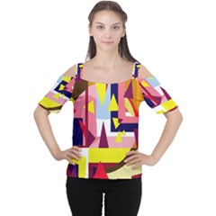 Colorful abstraction Women s Cutout Shoulder Tee