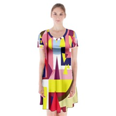 Colorful abstraction Short Sleeve V-neck Flare Dress