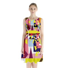 Colorful abstraction Sleeveless Chiffon Waist Tie Dress
