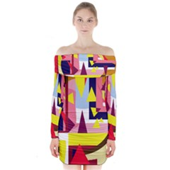 Colorful abstraction Long Sleeve Off Shoulder Dress