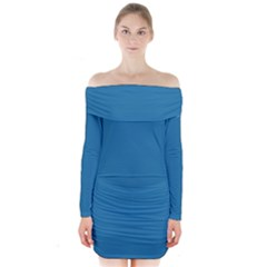 Pelorous Blue Colour Long Sleeve Off Shoulder Dress