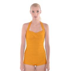 Orange Peel Colour Boyleg Halter Swimsuit
