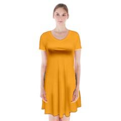 Orange Peel Colour Short Sleeve V-neck Flare Dress