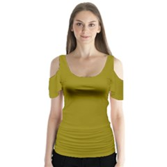 Olive Colour Butterfly Sleeve Cutout Tee