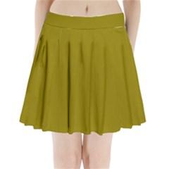 Olive Colour Pleated Mini Skirt