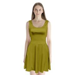 Olive Colour Split Back Mini Dress