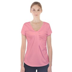 Mona Lisa Pink Colour Short Sleeve Front Detail Top