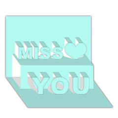 Mint Colour Miss You 3D Greeting Card (7x5)