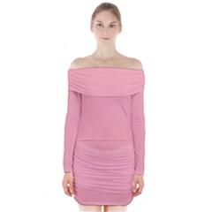Melon Colour Long Sleeve Off Shoulder Dress