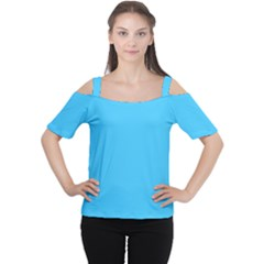 Maya Blue Colour Women s Cutout Shoulder Tee