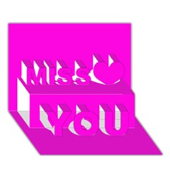 Magenta Colour Miss You 3D Greeting Card (7x5)