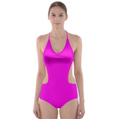Magenta Colour Cut-Out One Piece Swimsuit
