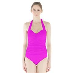 Magenta Colour Halter Swimsuit