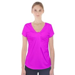 Magenta Colour Short Sleeve Front Detail Top