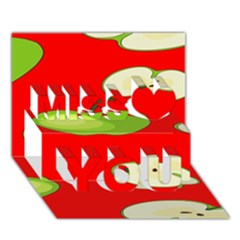 Apple Fruit Pattern Miss You 3D Greeting Card (7x5)