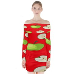 Apple Fruit Pattern Long Sleeve Off Shoulder Dress