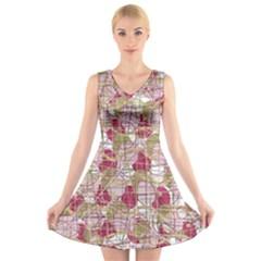 Decor V-Neck Sleeveless Skater Dress