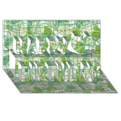 Gray decorative abstraction Happy Birthday 3D Greeting Card (8x4)