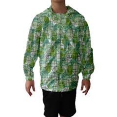 Gray decorative abstraction Hooded Wind Breaker (Kids)