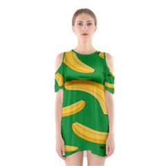 Banana Fruit Pattern Cutout Shoulder Dress