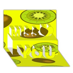 Kiwi Fruit Pattern Miss You 3D Greeting Card (7x5)