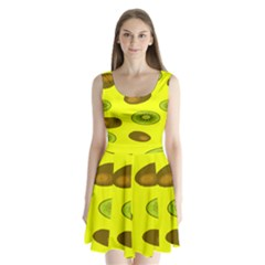 Kiwi Fruit Pattern Split Back Mini Dress