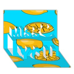 Lemon Fruit Pattern Miss You 3D Greeting Card (7x5)