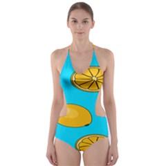 Lemon Fruit Pattern Cut-Out One Piece Swimsuit