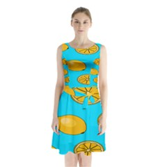 Lemon Fruit Pattern Sleeveless Chiffon Waist Tie Dress