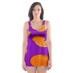 Orange Fruit Pattern Skater Dress Swimsuit