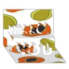 Papaya Fruit Pattern Miss You 3D Greeting Card (7x5)