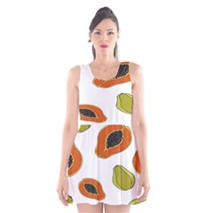 Papaya Fruit Pattern Scoop Neck Skater Dress