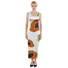 Papaya Fruit Pattern Fitted Maxi Dress