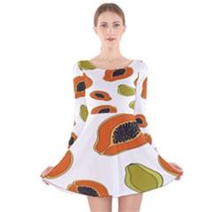 Papaya Fruit Pattern Long Sleeve Velvet Skater Dress