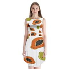 Papaya Fruit Pattern Sleeveless Chiffon Dress