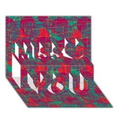 Decorative Abstract Art Miss You 3d Greeting Card (7x5)