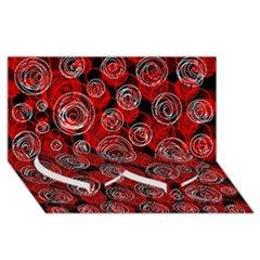 Red Abstract Decor Twin Heart Bottom 3d Greeting Card (8x4)