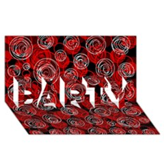 Red abstract decor PARTY 3D Greeting Card (8x4)