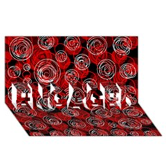 Red abstract decor ENGAGED 3D Greeting Card (8x4)