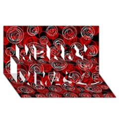Red abstract decor Merry Xmas 3D Greeting Card (8x4)